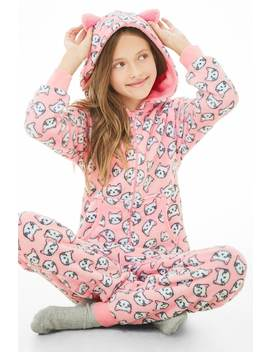 Girls Hooded Cat Jumpsuit (Kids) by Forever 21
