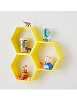 Honeycomb Yellow Hexagon Shelf by Crate&Barrel