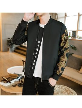 Gold Print Bomber Jacket Men Chinese Letter Print Black Vintage Jacket Men Bomber Outwear Japanese Casual Male Jacket Plus 5xl by Nstopos