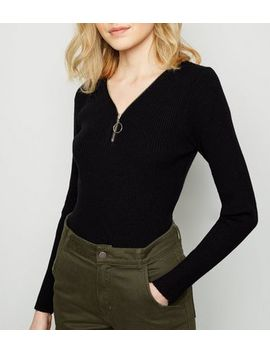 Black Ribbed Ring Zip Jumper by New Look