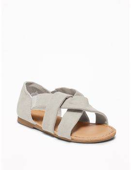 Slouchy Faux Suede Cross Strap Sandals For Toddler Girls by Old Navy