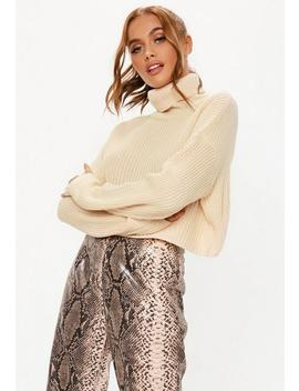 Petite Sand Roll Neck Cropped Knitted Jumper by Missguided