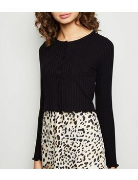 Black Rib Button Front Frill Hem Cardigan by New Look