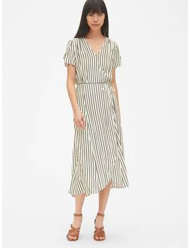Short Sleeve Print Midi Wrap Dress by Gap