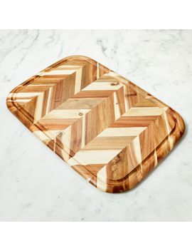 Madeira Large Herringbone Acacia Wood Board by Crate&Barrel