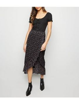 Black Ditsy Floral Mesh Midi Skirt by New Look