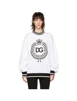 White #Dg Family Crown Sweatshirt by Dolce & Gabbana