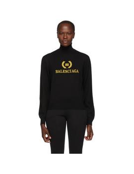 Black Embroidery Turtleneck by Balenciaga