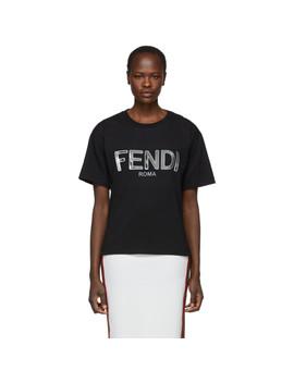 Black Metallic Logo T Shirt by Fendi