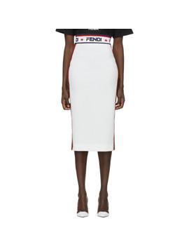 White 'fendi Mania' Pencil Skirt by Fendi