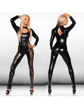 Women's Sexy Wet Look Leather Jumpsuit Black Catsuit Close Fitting Bodysuit A0 U0 by Unbranded/Generic