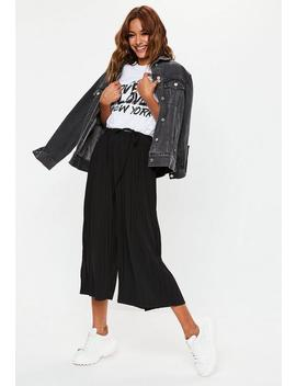 Black Pleated Culottes by Missguided