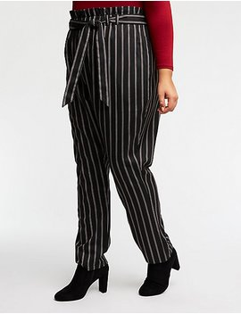 Plus Size Striped Tie Front Trousers by Charlotte Russe