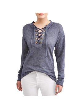 Women's Grommet Lace Up Sweatshirt by Alison Andrews