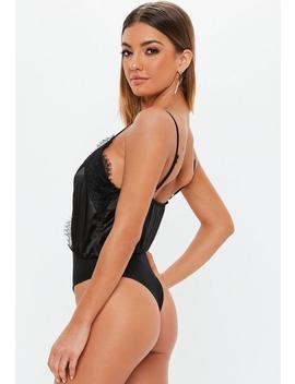 Black Satin Lace Trim Bodysuit by Missguided