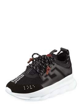 Men's Chain Reaction Sneakers, Black by Versace