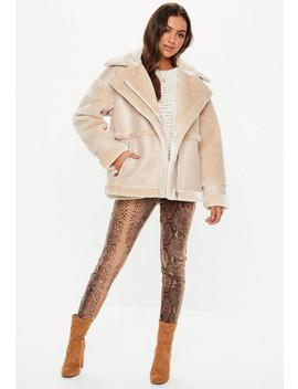 Tall Sand Faux Fur Aviator Coat by Missguided