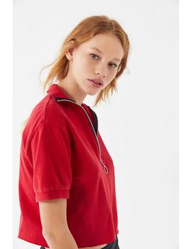 Urban Renewal Recycled O Ring Zipper Cropped Polo Shirt by Urban Renewal
