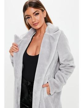 Grey Long Faux Fur Coat by Missguided
