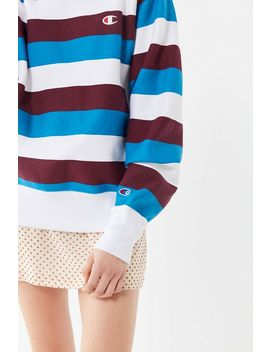Champion Oversized Striped Crew Neck Sweatshirt by Champion