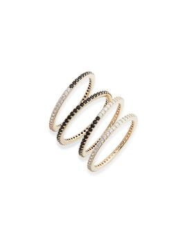 Noir Set Of 4 Rings by Nadri