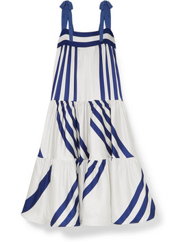 Tayrona Striped Silk Blend Satin Maxi Dress by Silvia Tcherassi