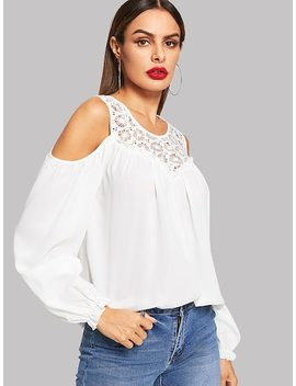 Lace Contrast Cold Shoulder Top by Shein