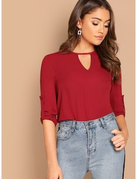 Keyhole Front Roll Tab Sleeve Top by Shein