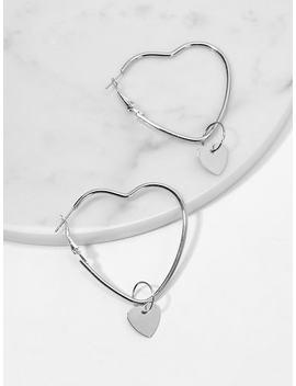 Open Heart Shaped Hoop Earrings 1pair by Sheinside