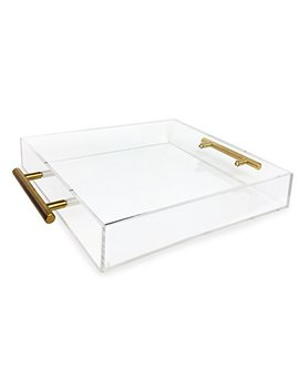 Isaac Jacobs Clear Acrylic Tray With Handle (12x12, Clear With Gold Handle) by Isaac Jacobs International