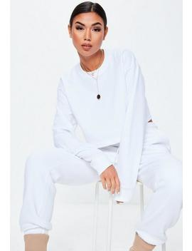 White Long Sleeve Cropped Sweatshirt by Missguided