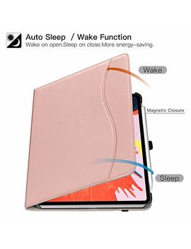 Ztotop Case For I Pad Pro 11 Inch 2018 Release, Premium Leather Slim Multiple Viewing Angles Folding Stand Folio Cover With Auto Wake/Sleep (Support 2nd Gen Ipad Pencil Wireless Charging), Rose Gold by Ztotop