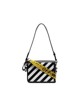 Black And White Diag Binder Clip Leather Shoulder Bag by Off White
