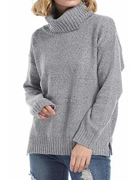 Kyrakiss Womens Casual Turtleneck Sweaters Long Sleeve Chunky Warm Cut Side Knit Pullover Jumper by Kyrakiss
