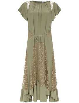 Lace Insert Silk Dress by Chloé