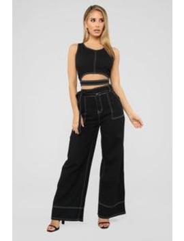 Time's Up Denim Set   Black by Fashion Nova