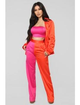 Sweet Sensation Satin 3 Piece Set   Orange/Fuchsia by Fashion Nova