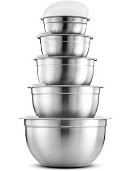 Fine Dine Premium Various Sizes Stainless Steel Mixing Bowl (Set Of 5) With Airtight Lids, Flat Base For Stability & Easy Grip Whisking, Mixing, Beating Bowls Nesting & Stackable For Convenient Storage by Finedine