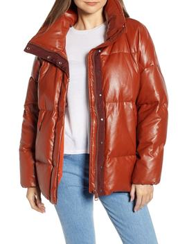 Glory Faux Leather Puffer Jacket by Sosken