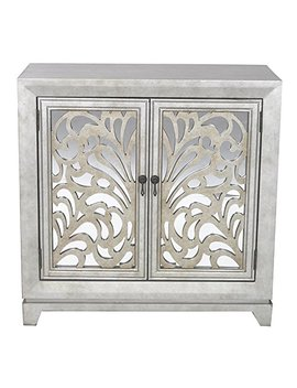 "Heather Ann Creations 2 Door Accent Cabinet/Console With Mirror Backed Carved Grille And Center Shelf, 32"" X 32"", Silver/Gold by Heather Ann Creations"