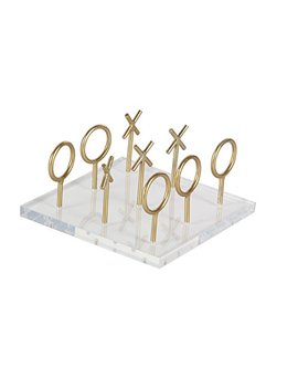 "Deco 79 56988 Tic Tac Toe Table Decor With Stemmed Pieces, 5"" X 8"", Gold/Clear by Deco 79"