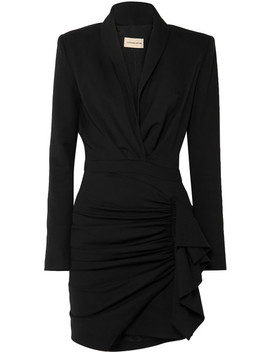 Ruched Wool Blend Twill Mini Dress by Alexandre Vauthier