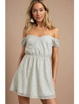 Lola Dusty Mint Lace Off Shoulder Skater Dress by Tobi
