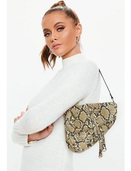 Brown Snake Print Saddle Bag by Missguided