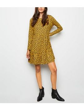 Yellow Ditsy Floral Soft Touch Smock Dress by New Look