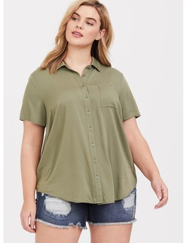Olive Challis Button Shirt by Torrid