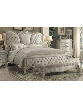 Acme Versailles Ivory Velvet And Bone White Eastern King Bed by Acme Furniture
