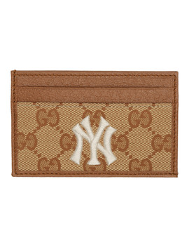 Beige & Brown Ny Yankees Edition Small Gg Patch Card Holder by Gucci