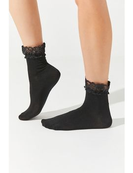 Lace Trim Crew Sock by Urban Outfitters