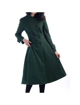 Jolie Moi   Green Double Breasted Flare Coat by Jolie Moi